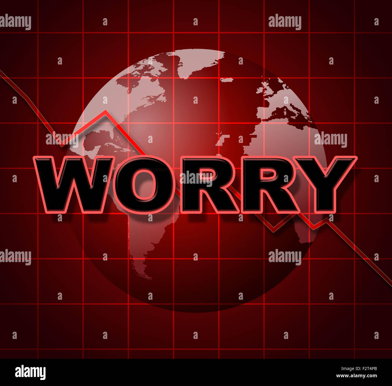 Worry Graph Meaning Graphics Apprehensiveness And Concern Stock Photo