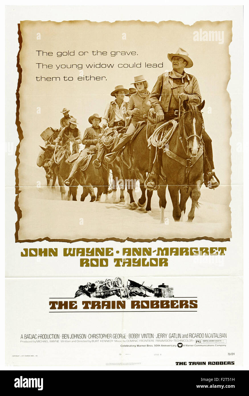 Train Robbers, The (1973) - Movie Poster - Stock Image