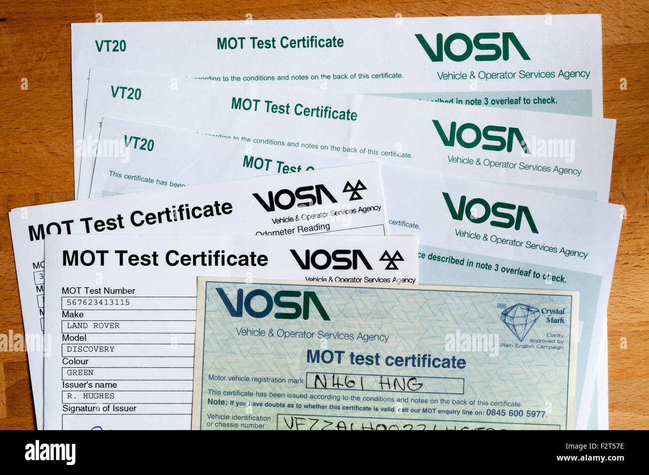 Various style of MOT Test Certificate. - Stock Image