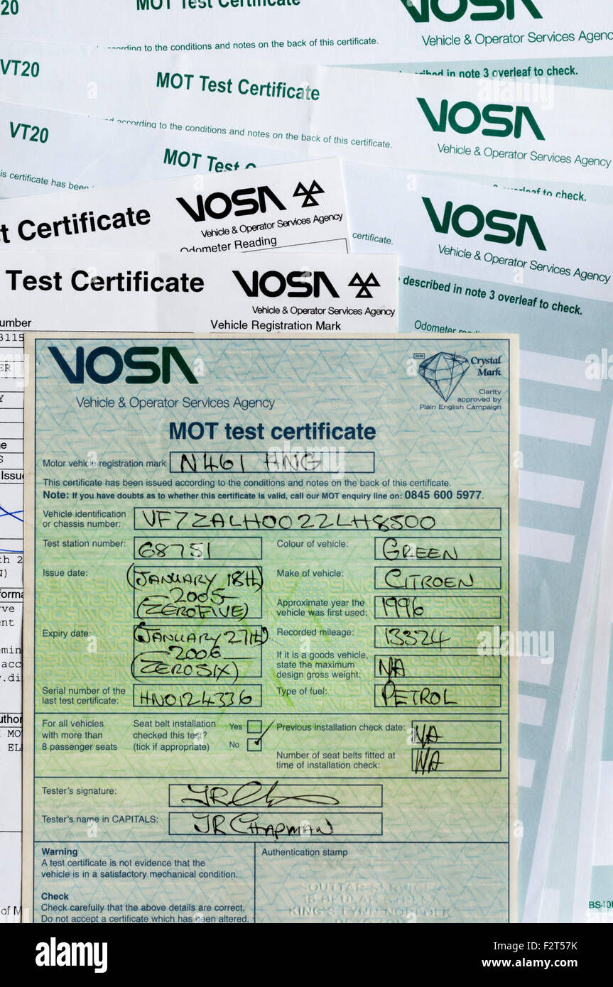 Various style of MOT Test Certificate. Stock Photo