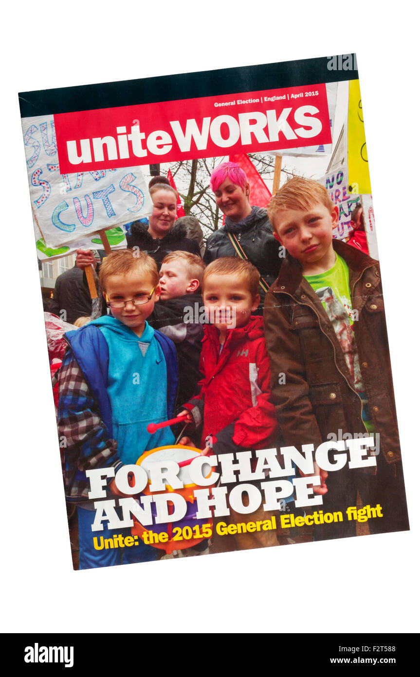 A copy of Unite Works, the magazine of Unite the Union usually simply known as Unite. - Stock Image