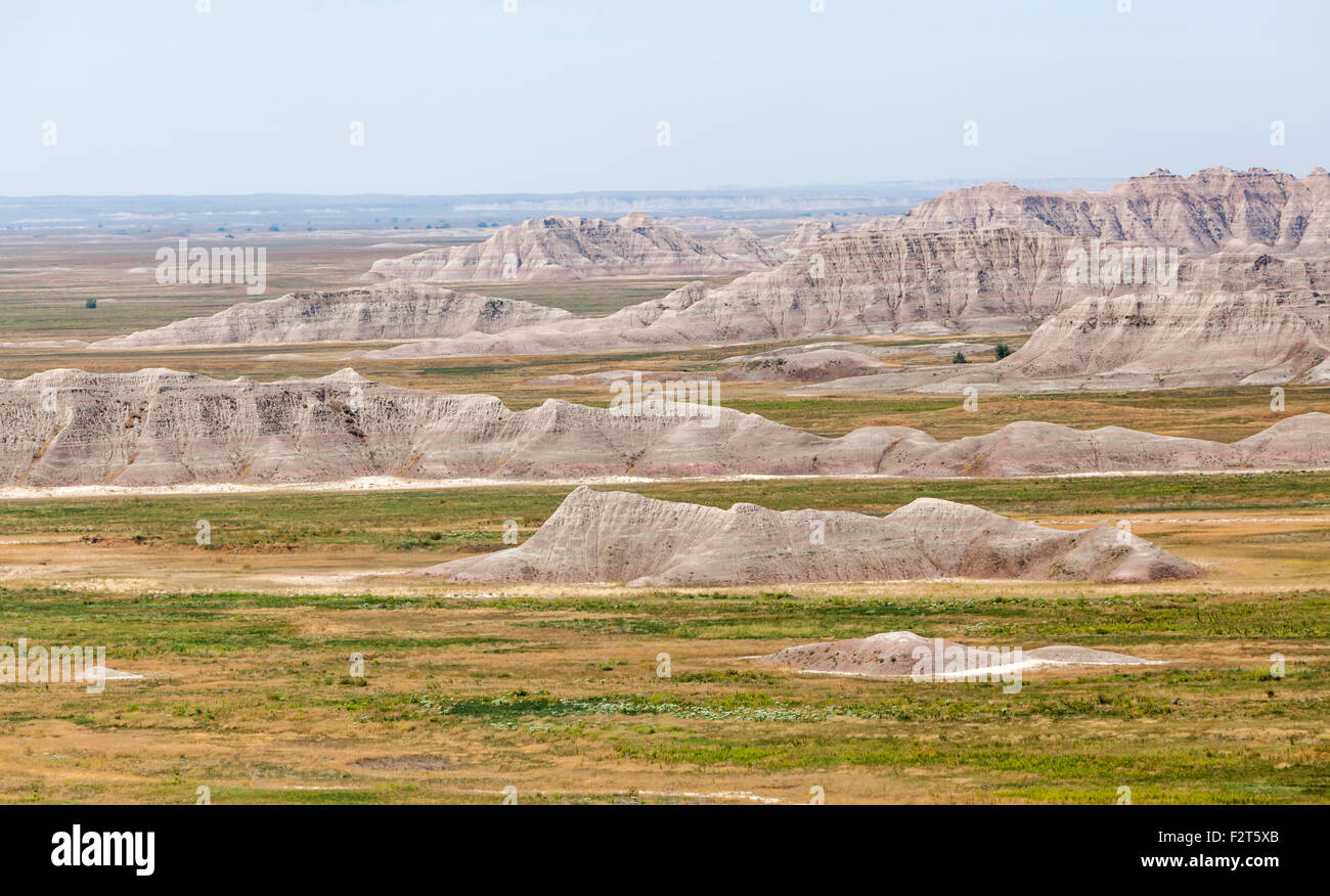 A view of the Badlands National Park, South Dakota. - Stock Image