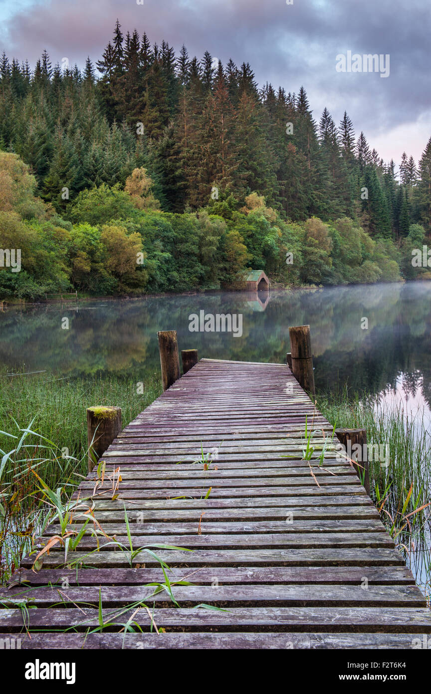 Old Jetty on Loch Ard in the Scottish Highlands - Stock Image