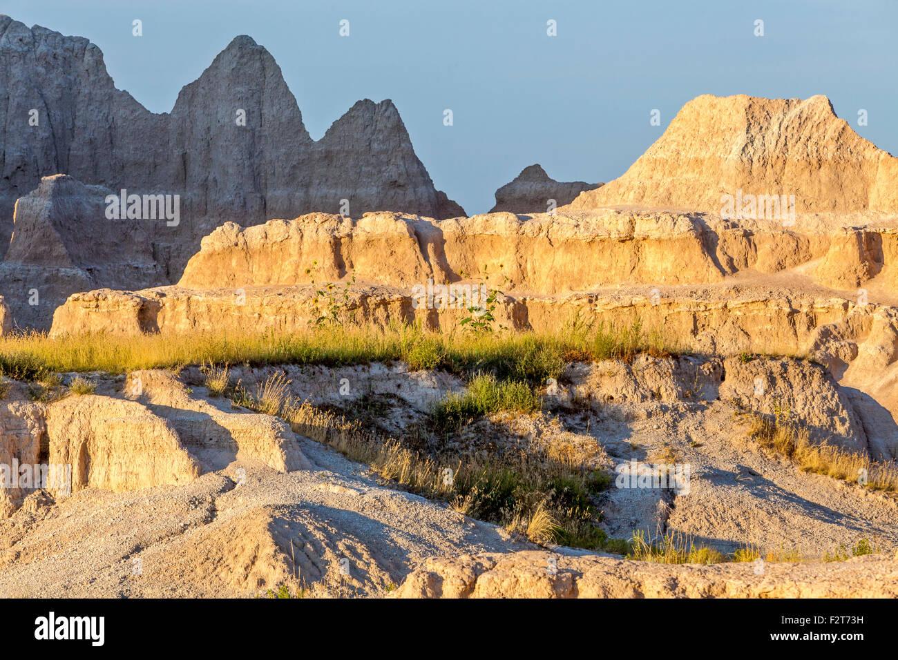 A view of the Badlands National Park, South Dakota. - Stock Image