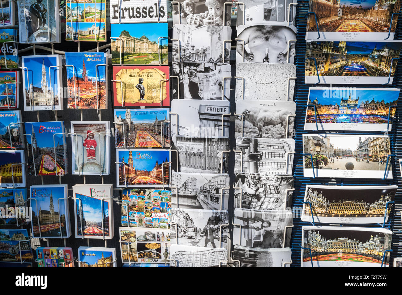 Belgium, Brussels, postcards - Stock Image