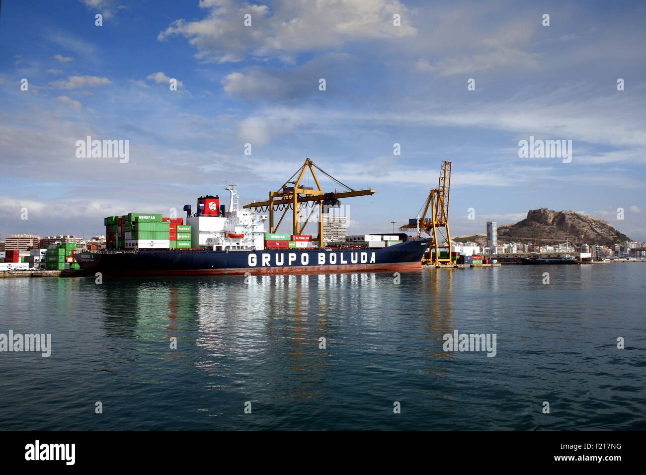 Containership docked - Stock Image