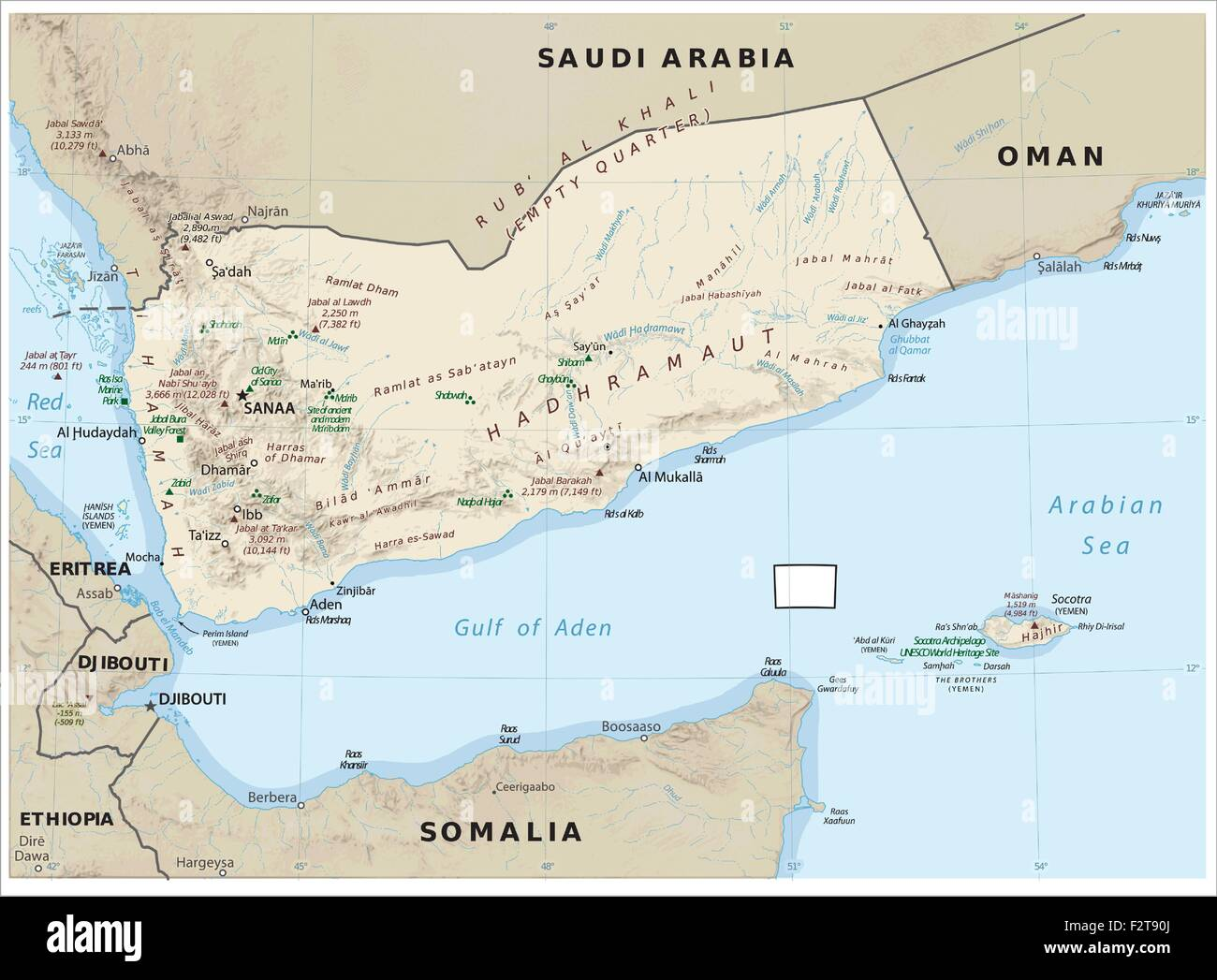 Yemen physiography map - Stock Vector