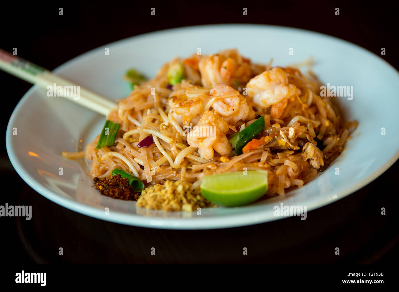 Pad Thai With Prawns Served In A Restaurant In England Uk Stock