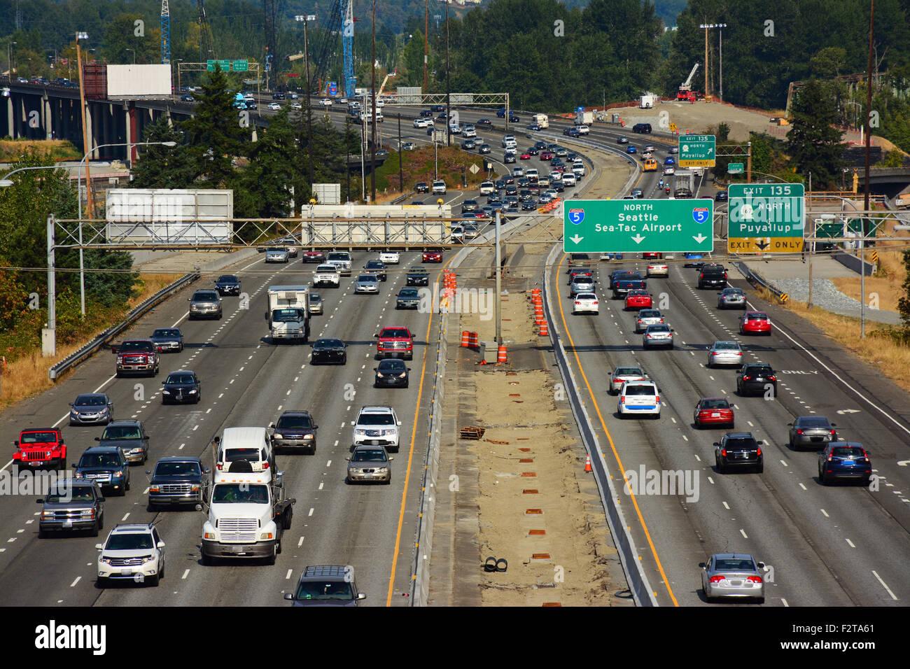 Highway 5 in Washington state, USA - Stock Image