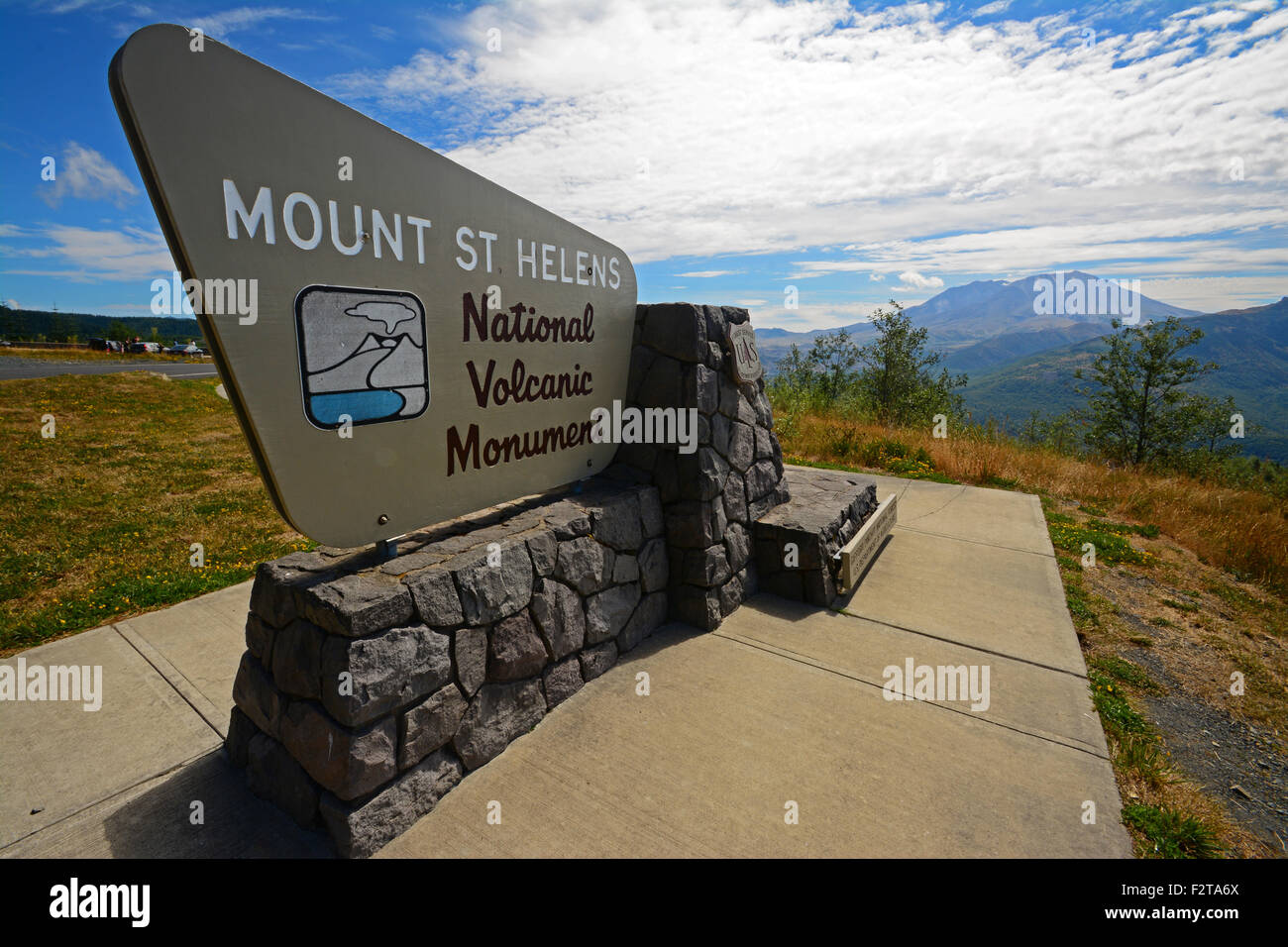 Mount St Helens  National Volcanic Monument sign - Stock Image
