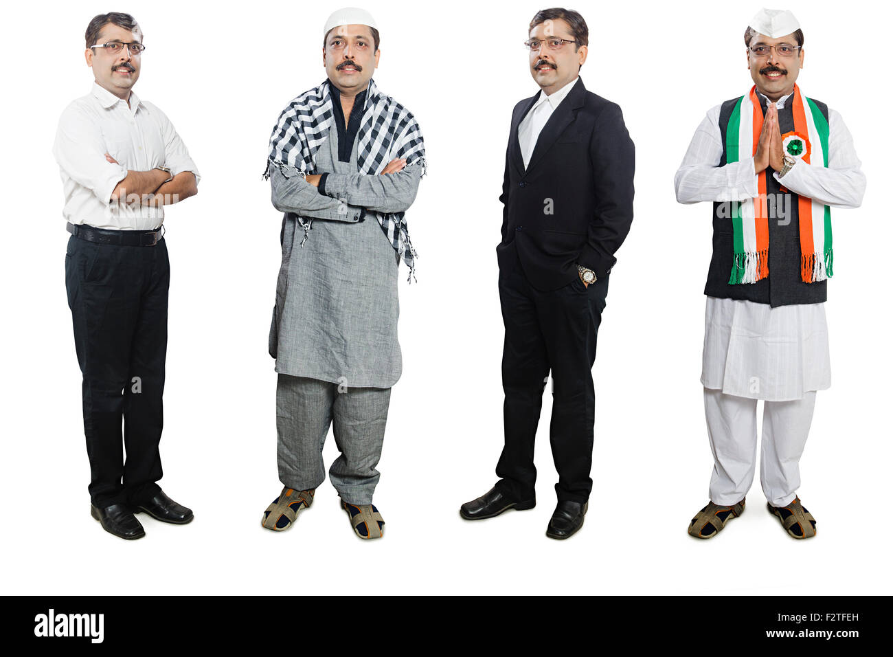 1 indian Adult Man Comparison Multiple Personality - Stock Image