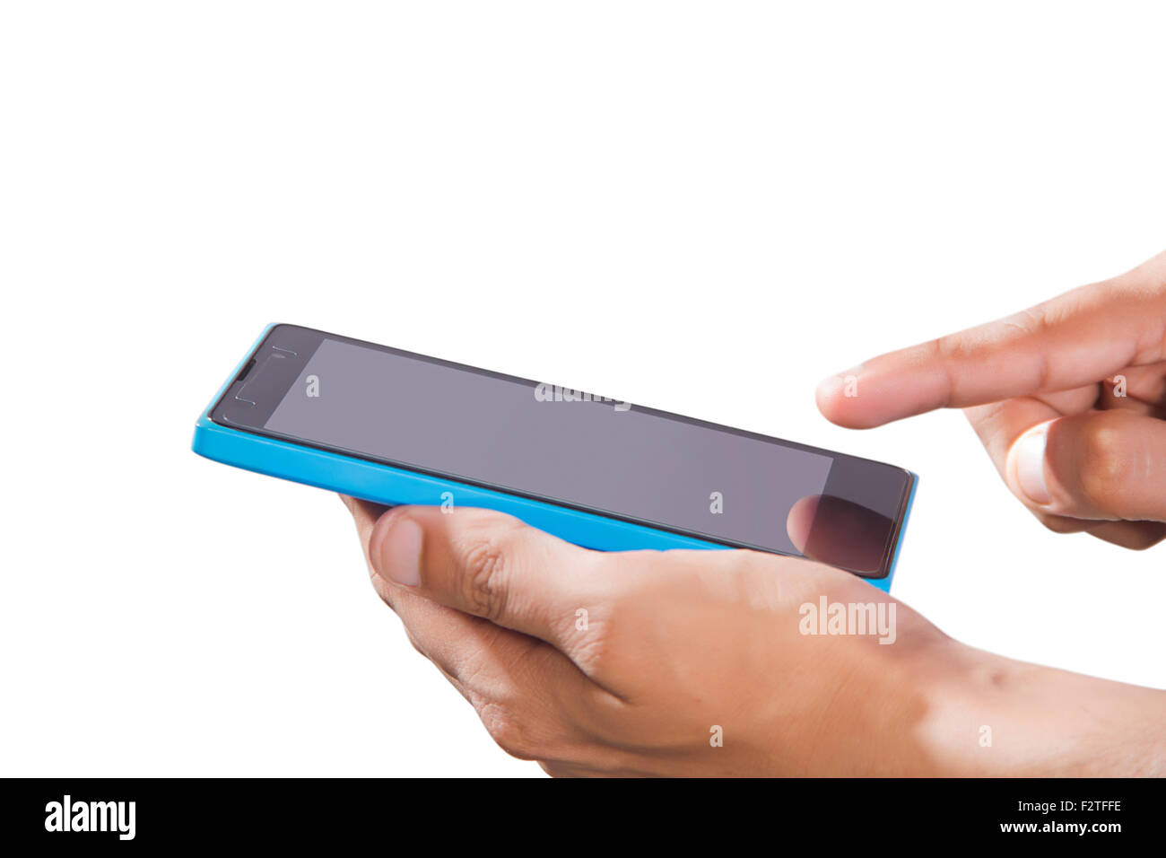 1 Adult Man Mobile Phone Technology - Stock Image