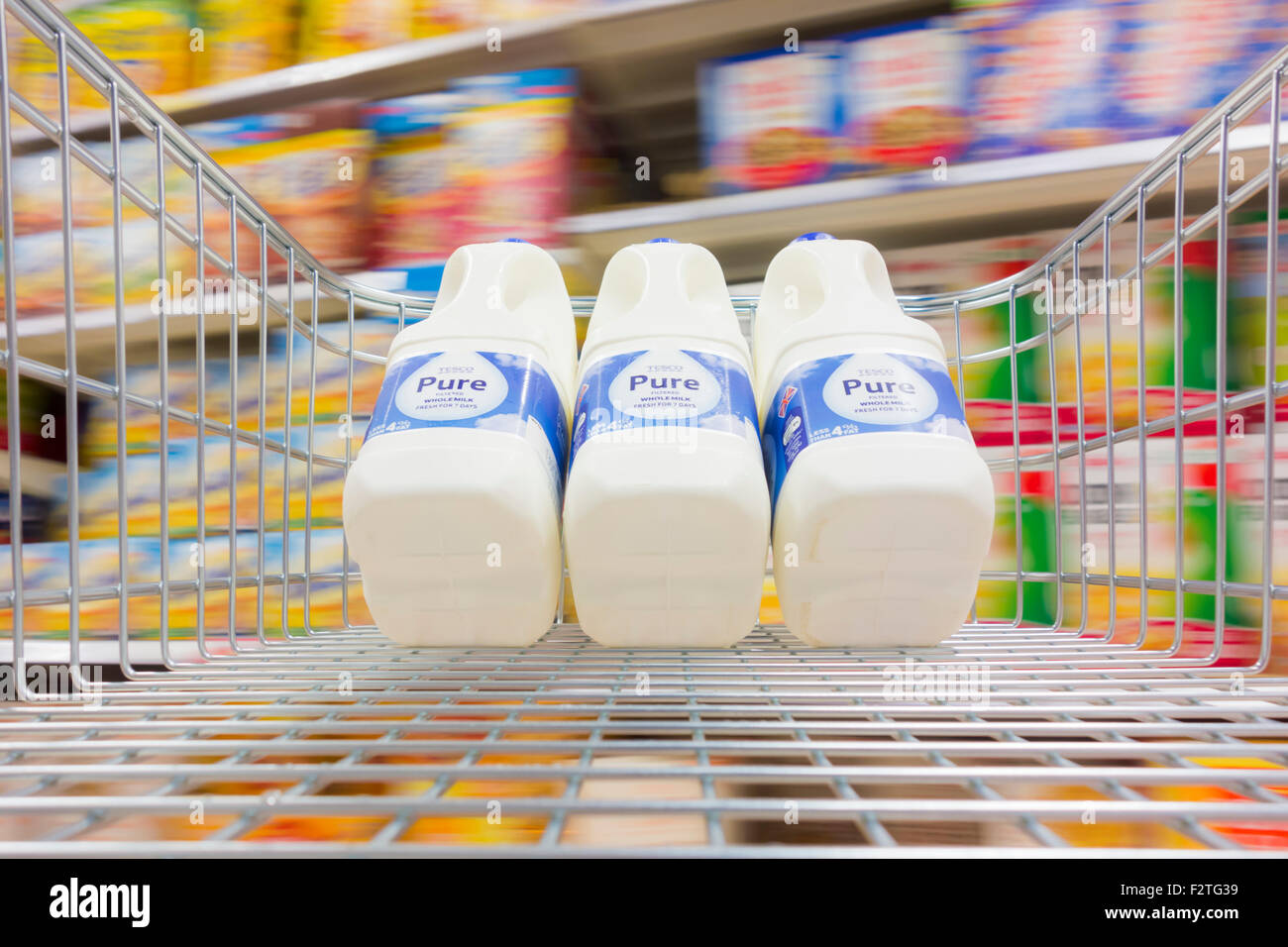 Milk in shopping trolley in Tesco supermaket. UK - Stock Image