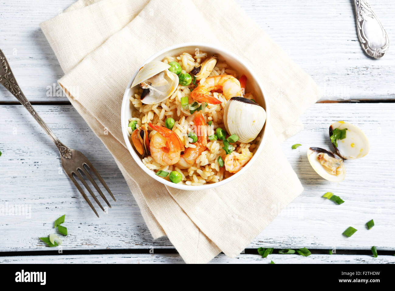 Nourishing rice with shrimp and mussels, food - Stock Image