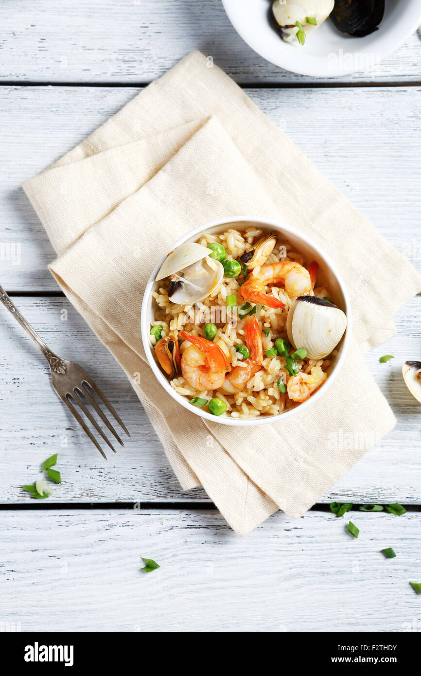 Rice with shrimp in a bowl, tasty food - Stock Image