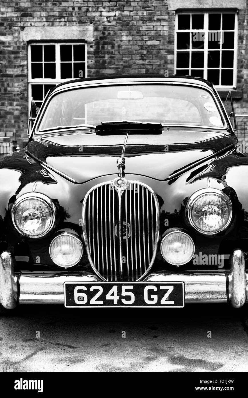 1964 jaguar mark 2 saloon at  Bicester Heritage Centre. Oxfordshire, England. Black and White - Stock Image