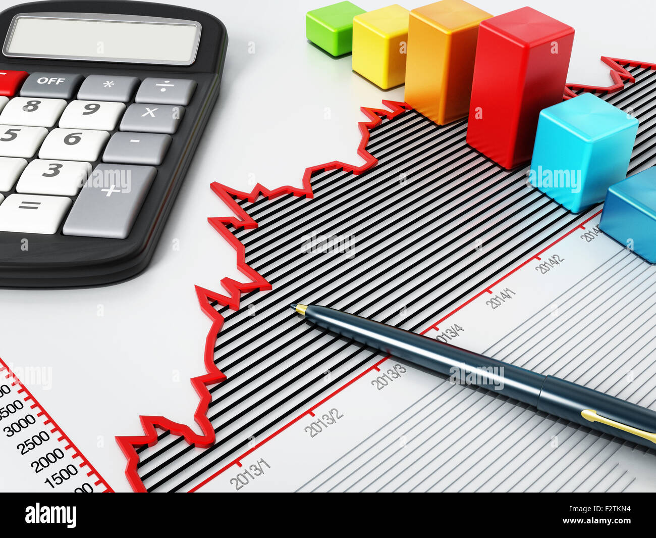 Rising sale graphic with a calculator, pen and blocks. - Stock Image