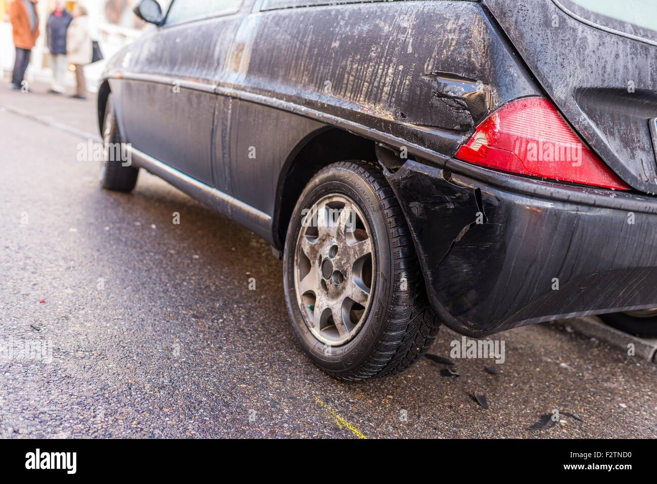 Accident, damage to a parked car, Germany - Stock Image