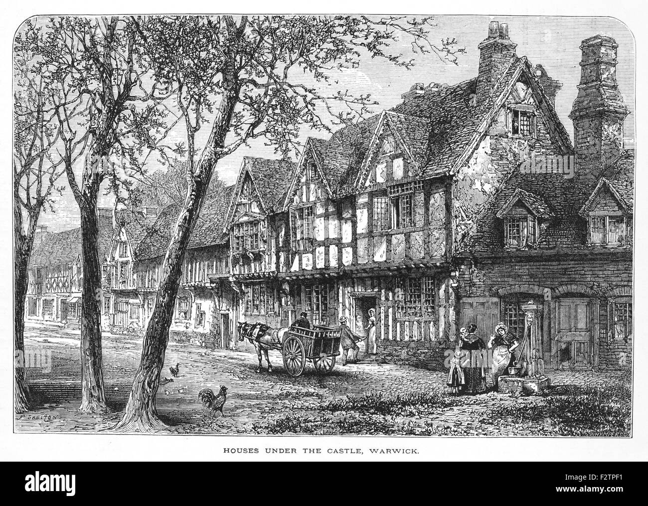 Houses under the Castle at Warwick_Illustration from 'The British isles - Cassell Petter & Galpin Part 6 - Stock Image