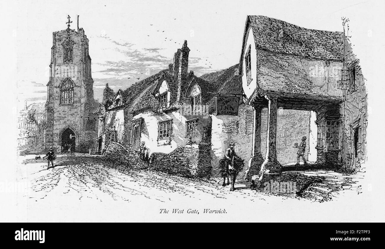 The West Gate Warwick_Illustration from 'The British isles - Cassell Petter & Galpin Part 6 Picturesque - Stock Image