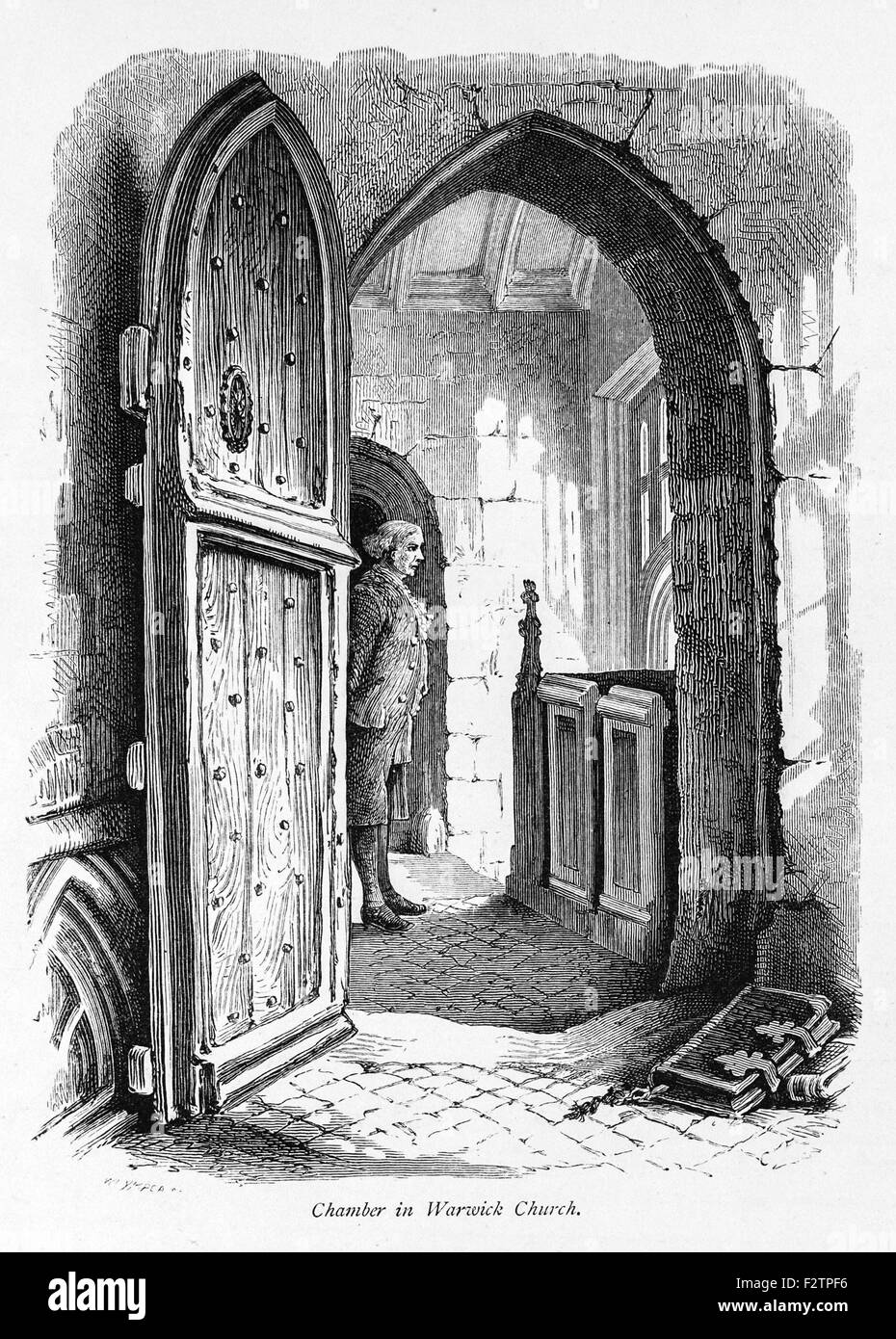 Chamber in Warwick Church_Illustration from 'The British isles - Cassell Petter & Galpin Part 6 Picturesque - Stock Image