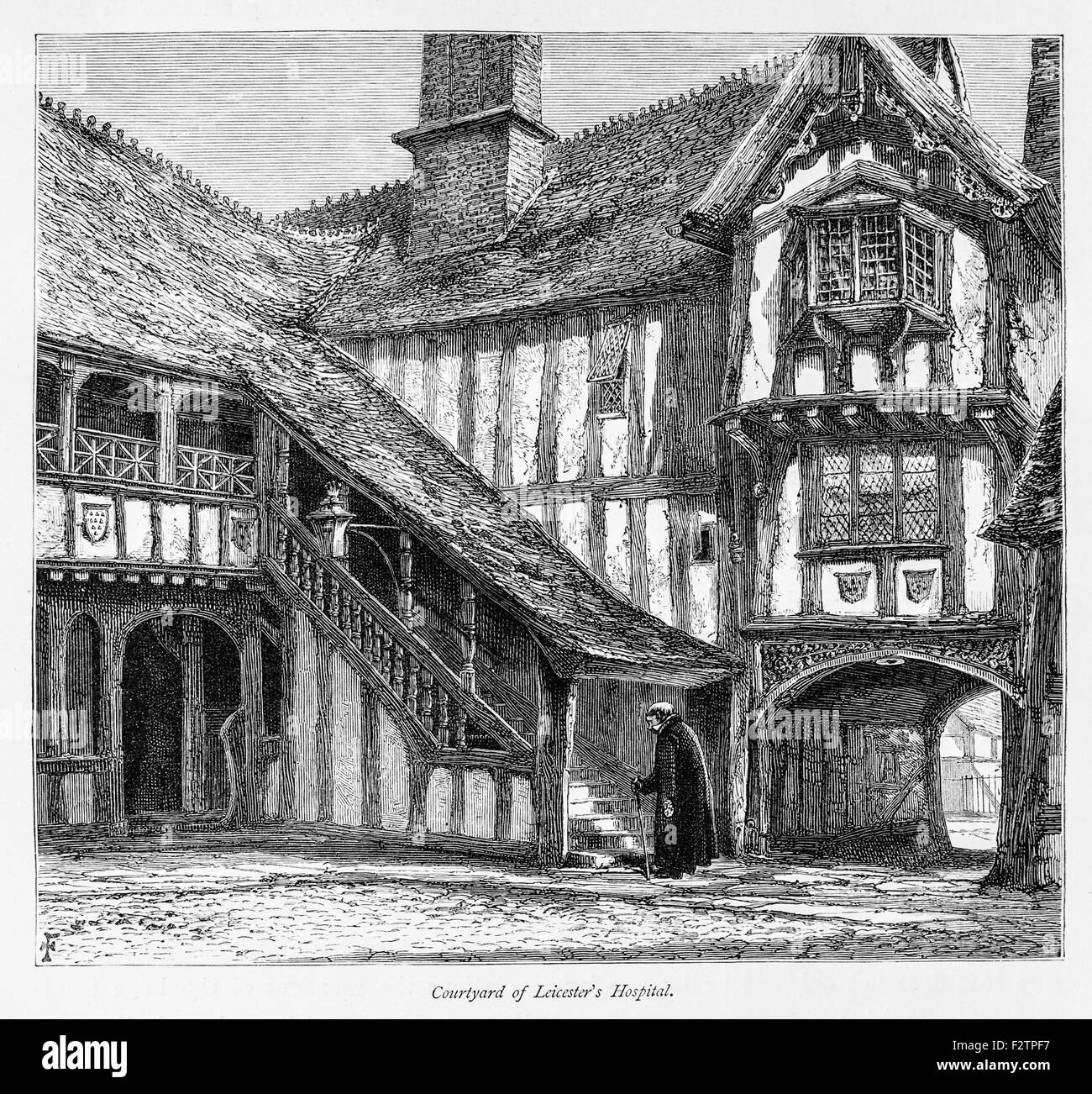 Courtyard of Leicester Hospital_Illustration from 'The British isles - Cassell Petter & Galpin Part 6 Picturesque - Stock Image