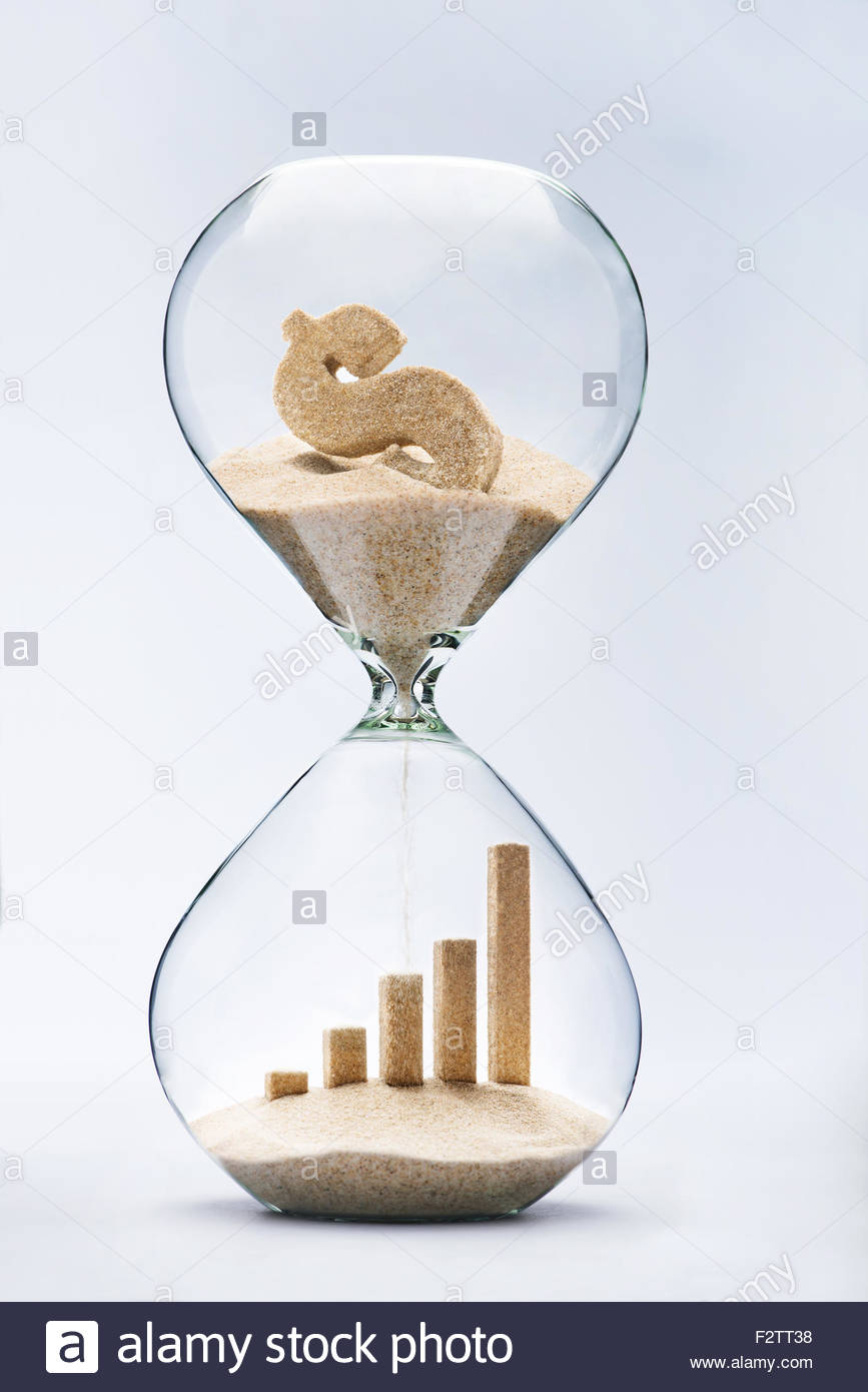 Business growth graphic bar made out of falling sand from dollar sign flowing through hourglass - Stock Image