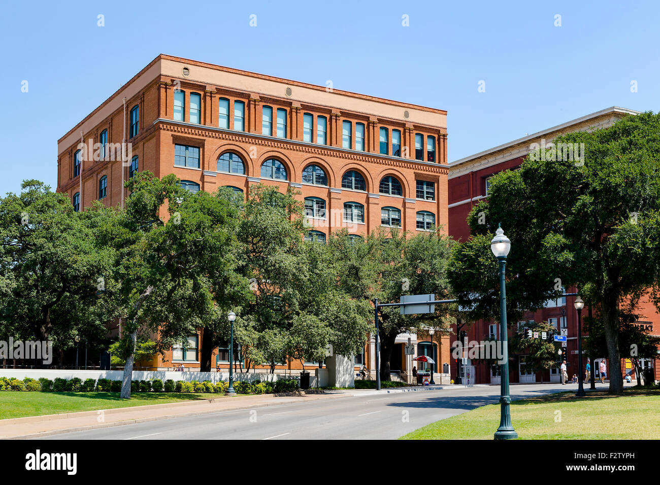 Dallas Texas School Book Depository USA  in Dealey plaza - Stock Image