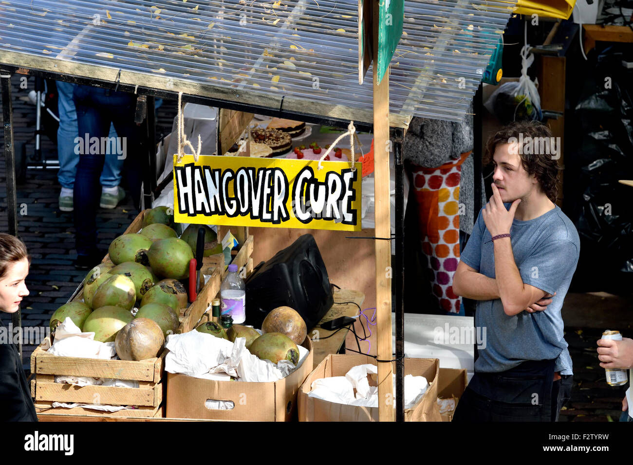 London, England, UK. Camden Market - stall selling a 'Hangover Cure' - Stock Image