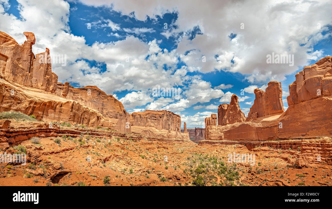 Panoramic view of rock formations in Arches National Park, Utah, USA. - Stock Image