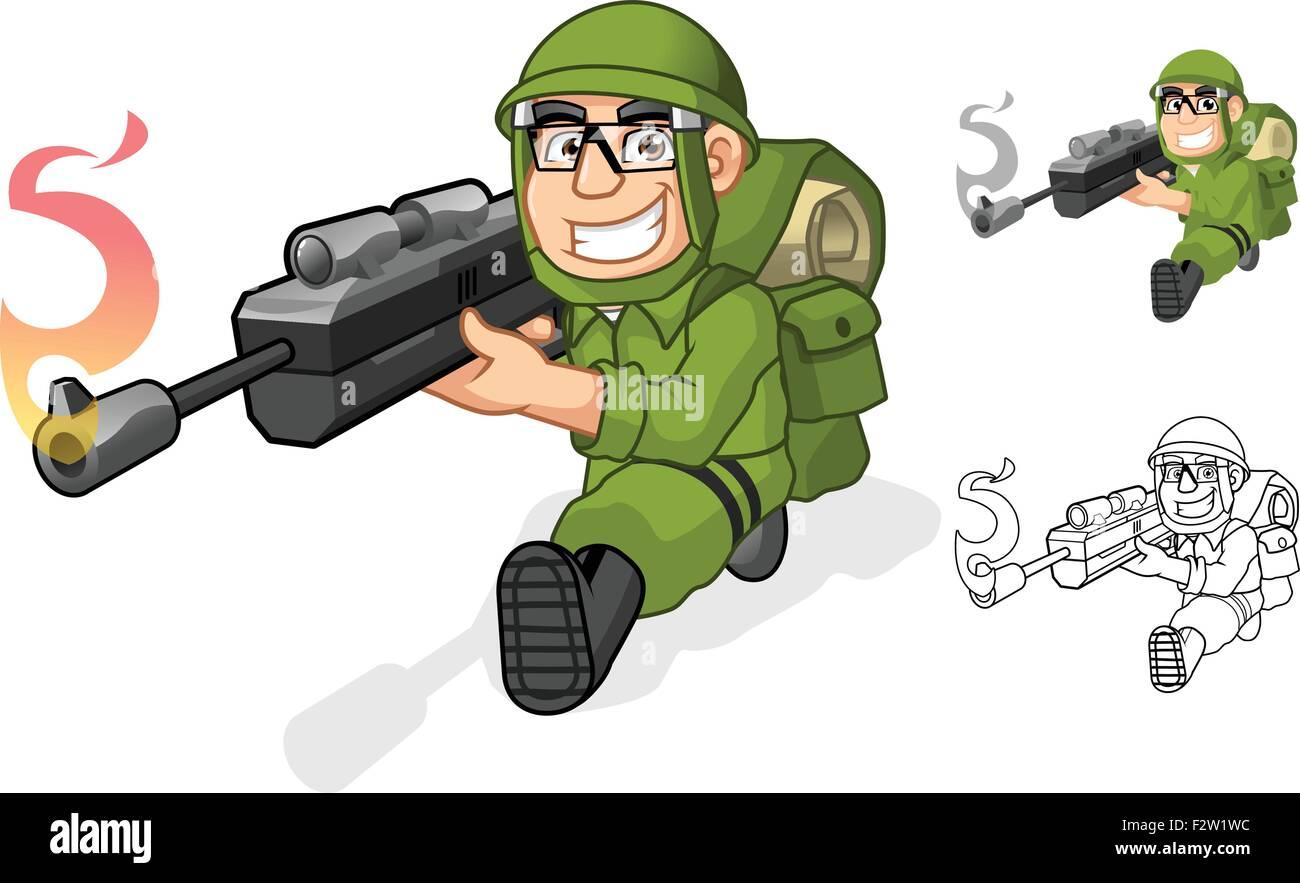 Army Cartoon Character Aiming a Rifle Gun with Shoot Pose - Stock Vector