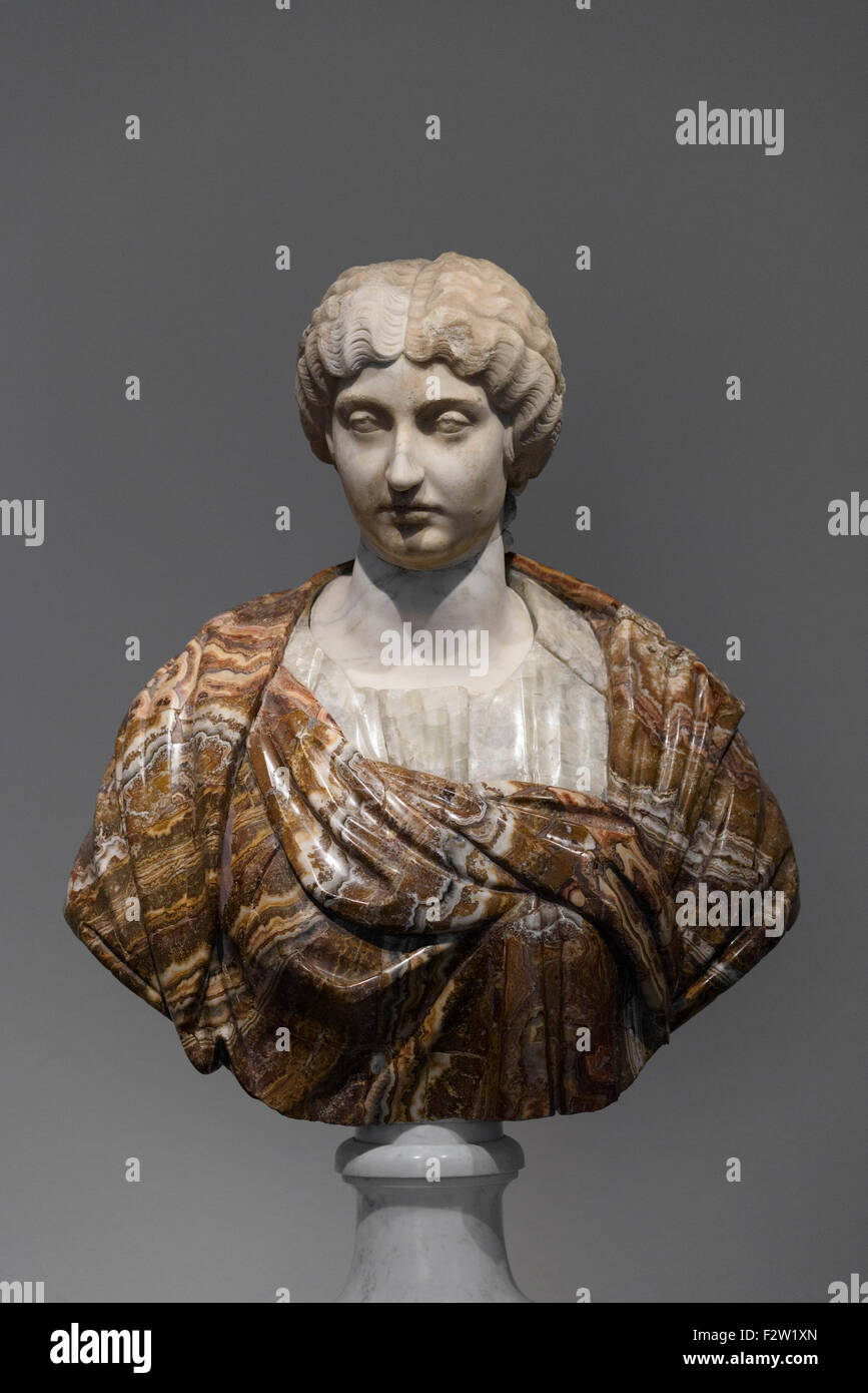 Berlin. Germany. Portrait bust of Roman Empress Annia Galeria Faustina the Younger, 161-170 AD. Altes Museum. - Stock Image