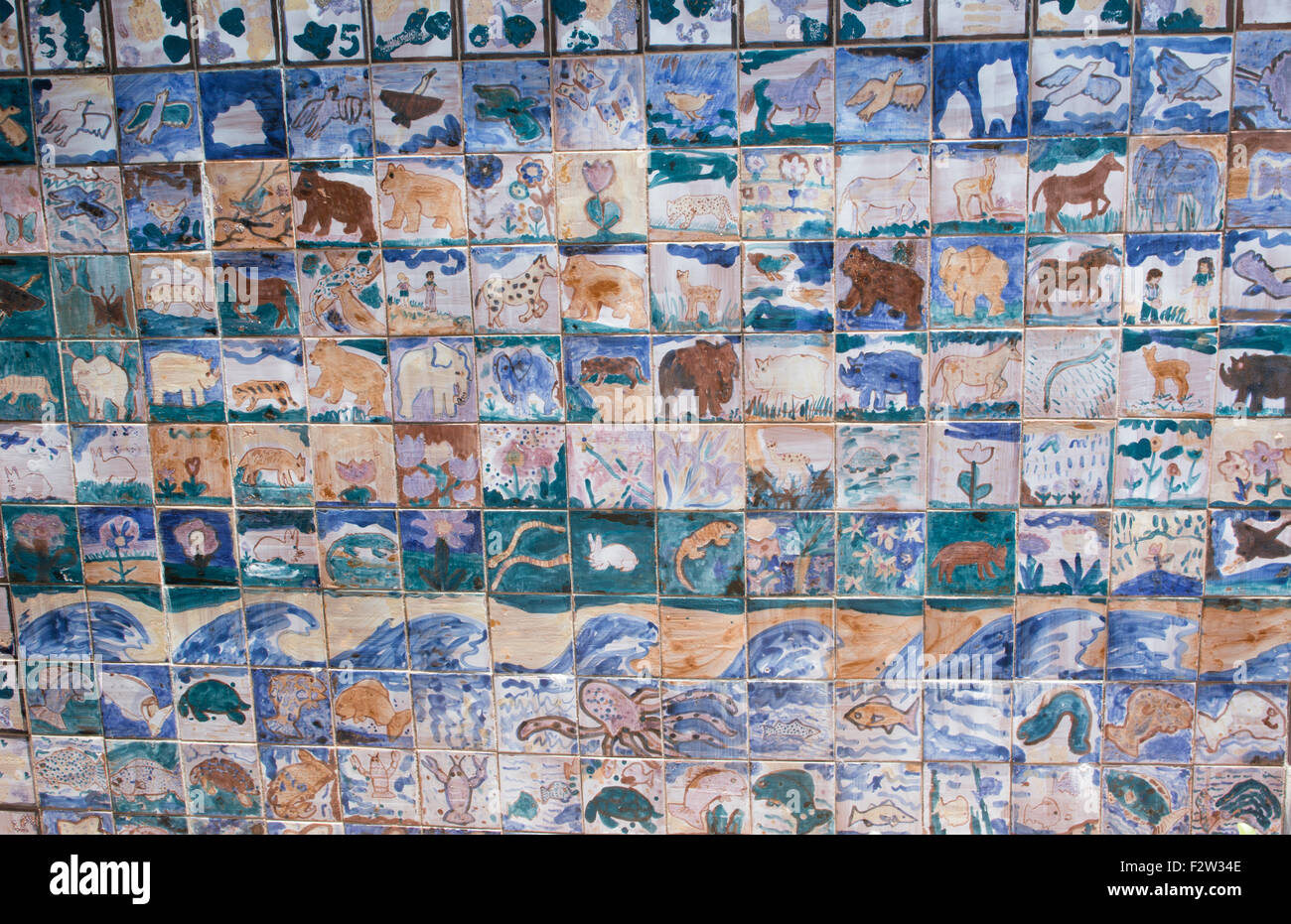 Alexandria Louisiana Children's Peace Wall 1987 tiles painted by small children in downtown - Stock Image