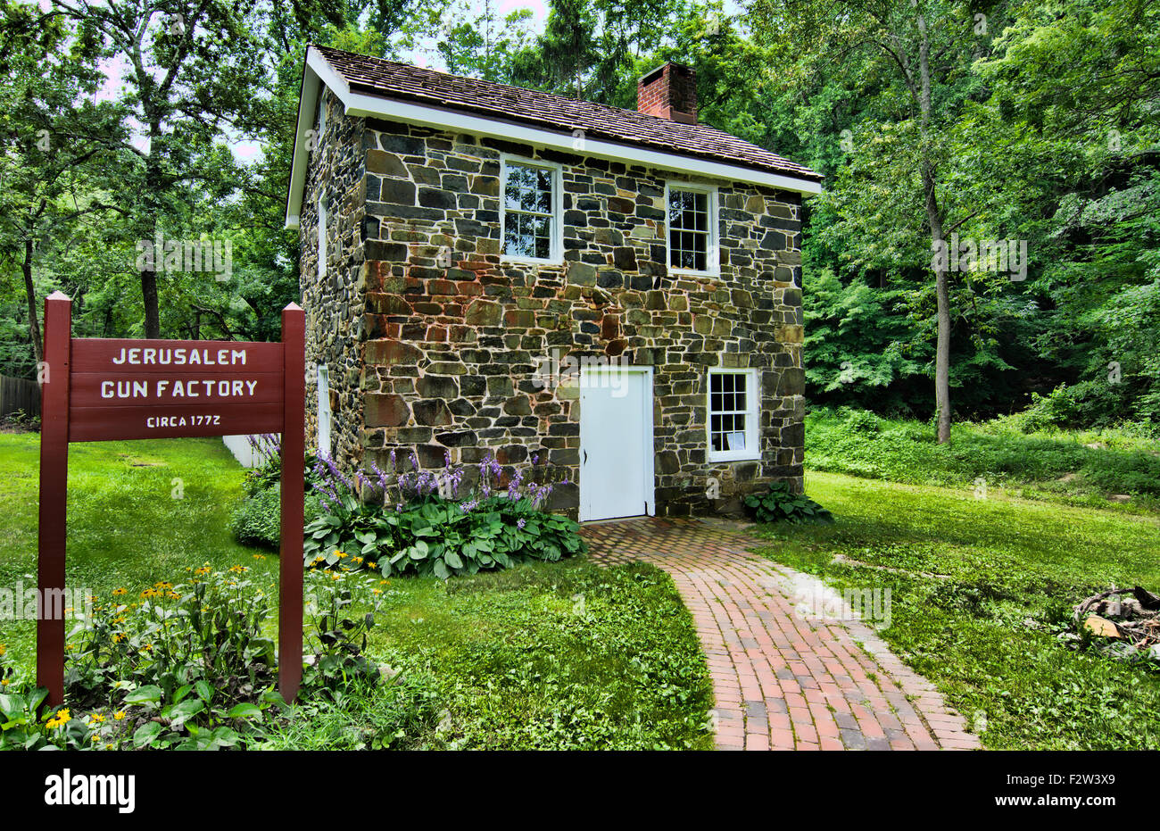 Jerusalem Mill Village Maryland old colonial town gun factory stone 1772 historical tourists - Stock Image