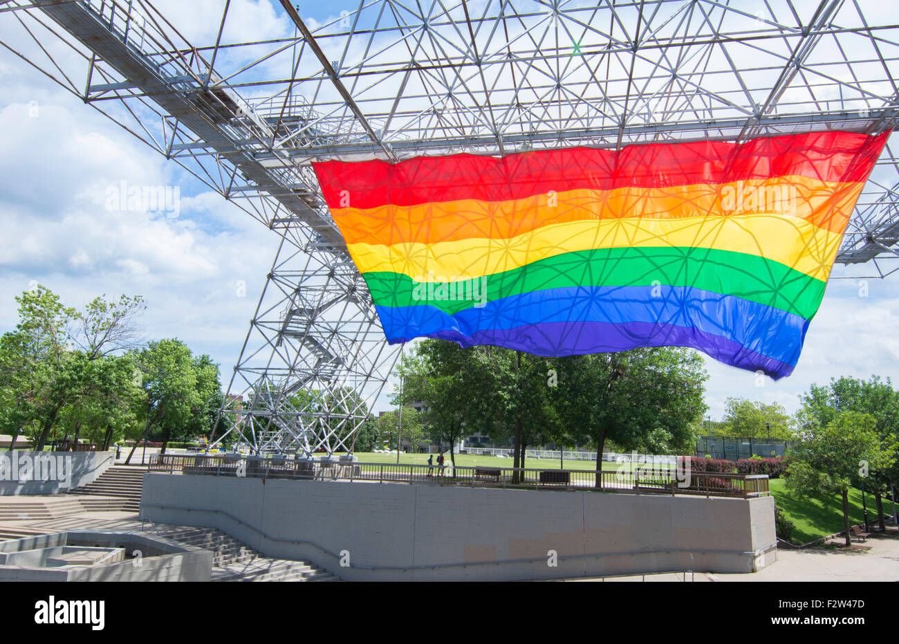 Rochester New York Ny Downtown City Gay Rainbow Flag For Pride Stock
