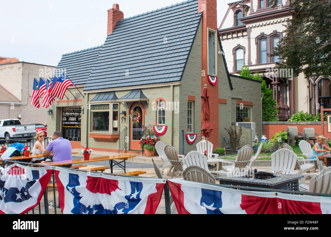 Rochester New York NY small town Fairport village and Fairport Brewery tavern with locals - Stock Image