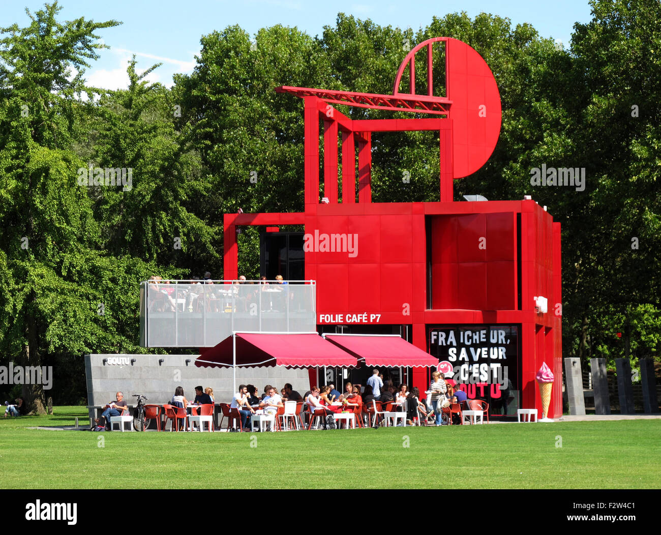 The Folie restaurant,Parc de la Villette,Cite des sciences et de l'industrie,city of sciences and industry,Paris, - Stock Image