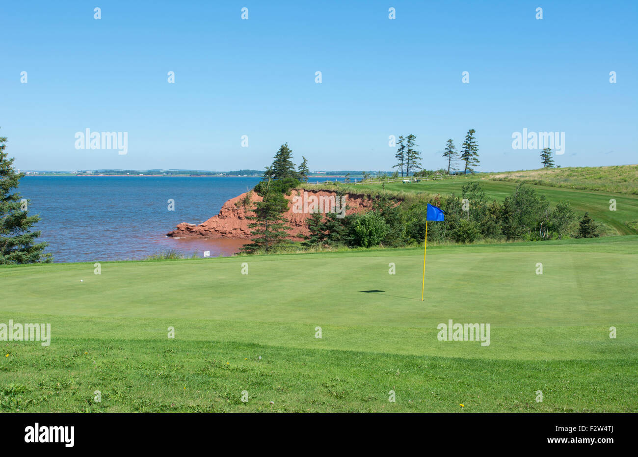 Canada Prince Edward Island, P.E.I. golfing at Belfast Highland Greens near ocean with cliff - Stock Image