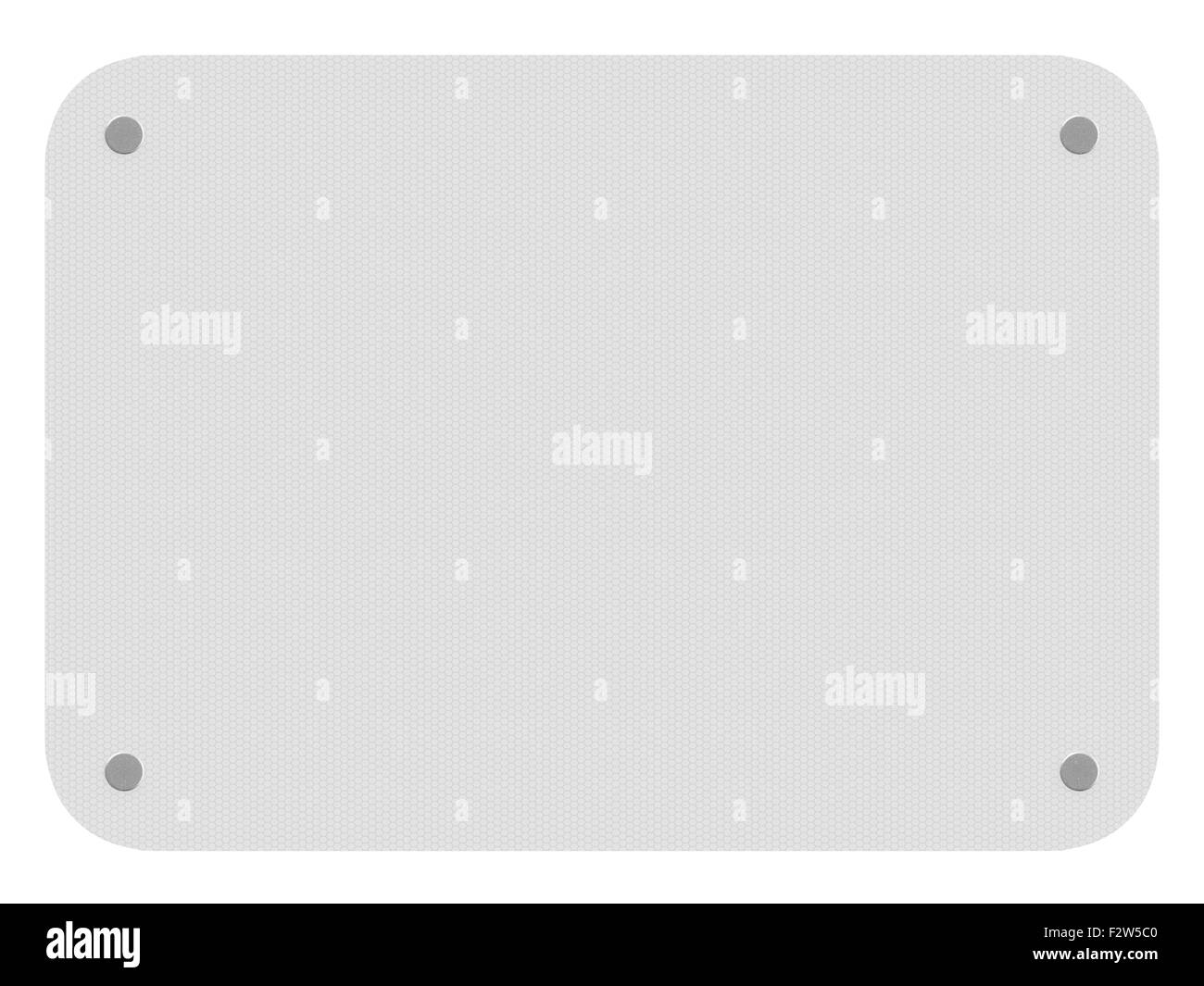 White reflective sign isolated on a white background. - Stock Image