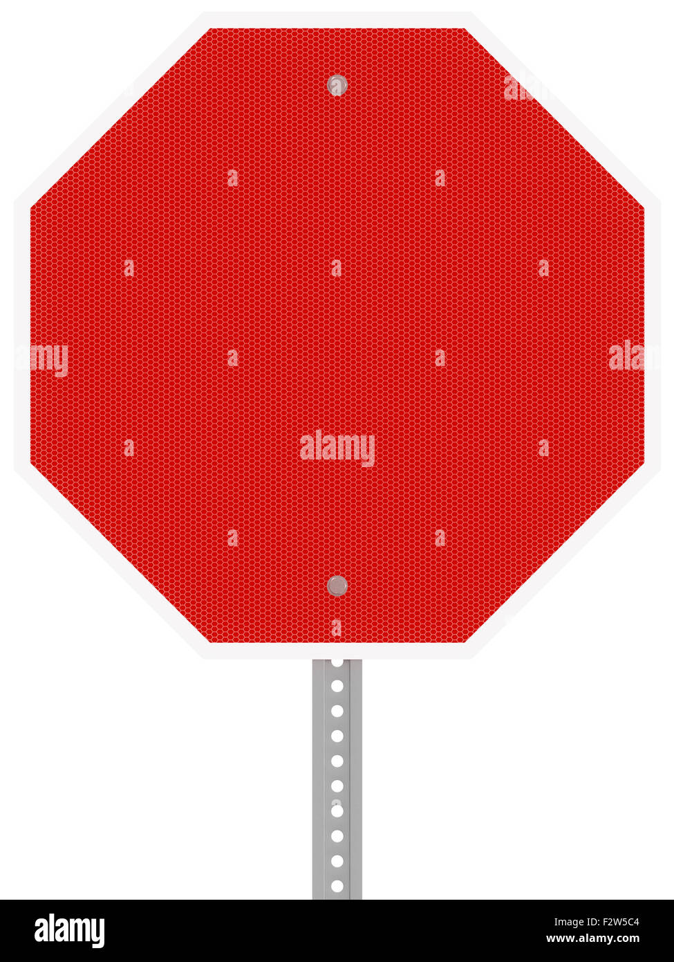 Red reflective hexagon stop sign isolated on a white background. - Stock Image