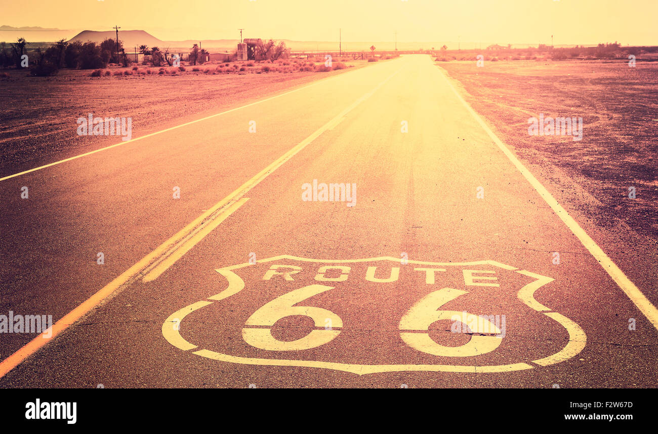 Vintage filtered sunset over Route 66, California, USA. - Stock Image