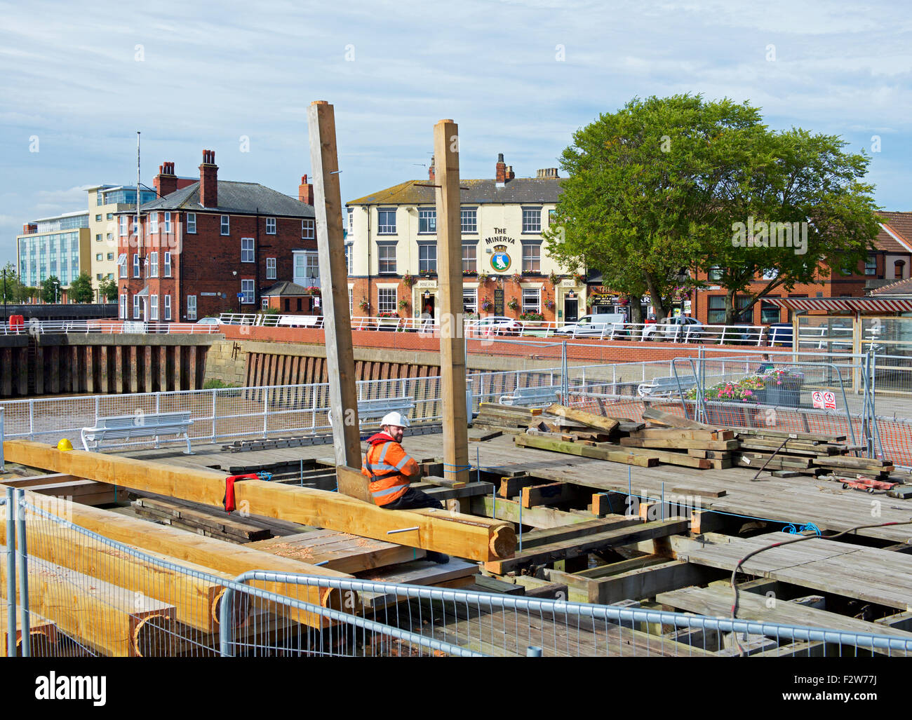 Victoria pier being renovated, Kingston-upon-Hull, East Riding of Yorkshire, England UK - Stock Image