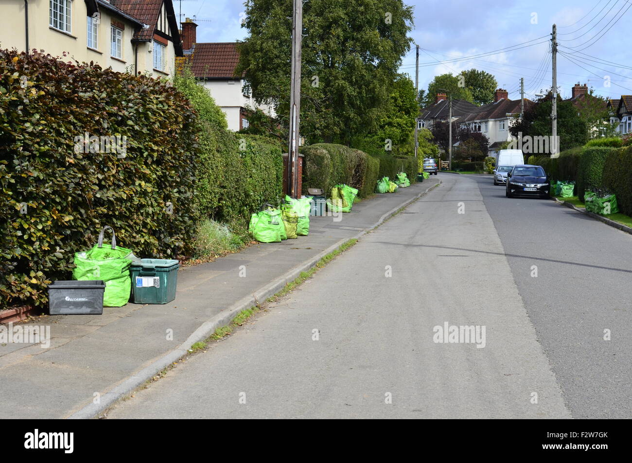 Green Rubbish Bags put out for collection in the Long Ashton area of Bristol. Robert Timoney. - Stock Image