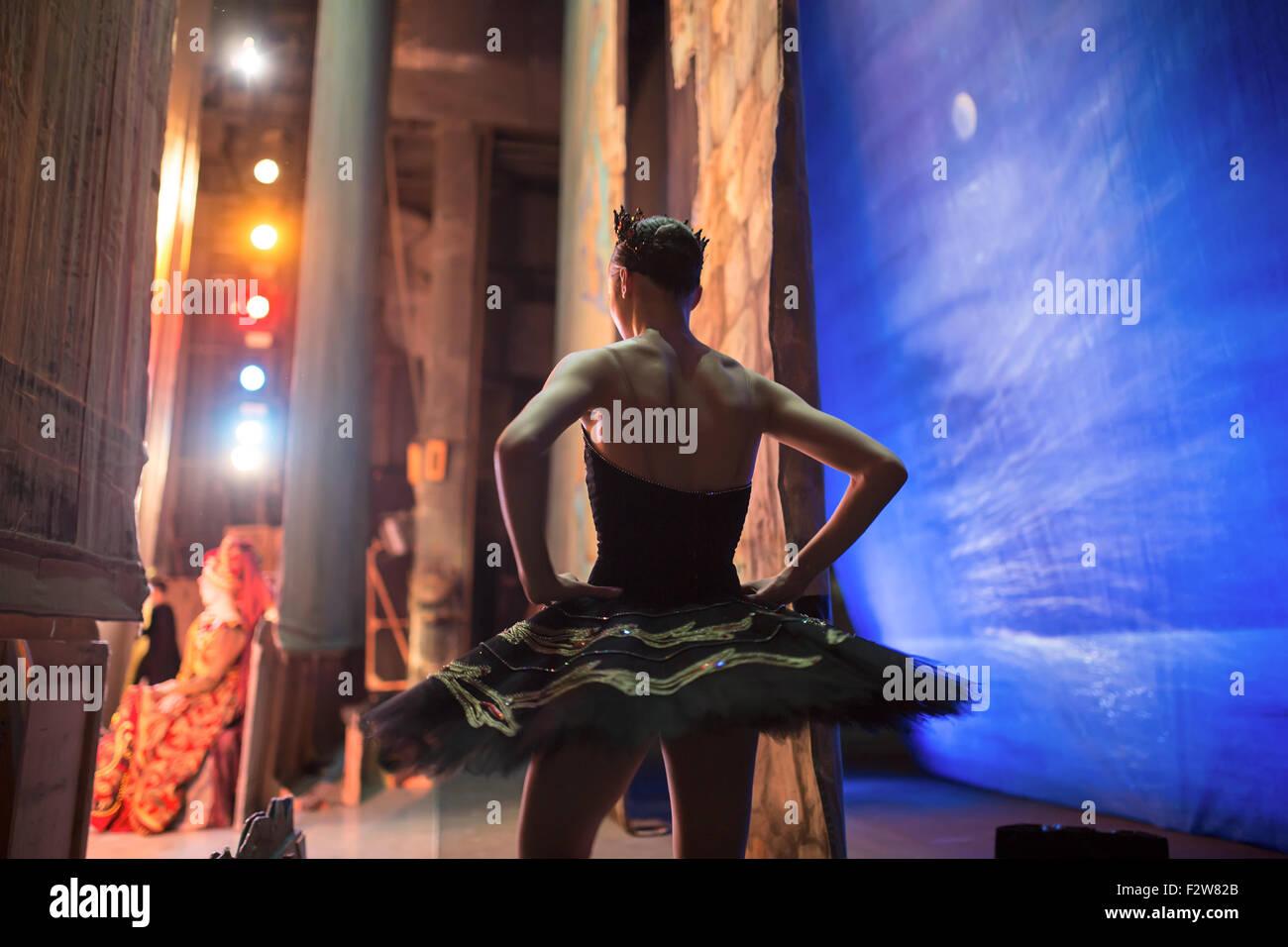 Prima ballerina standing backstage - Stock Image