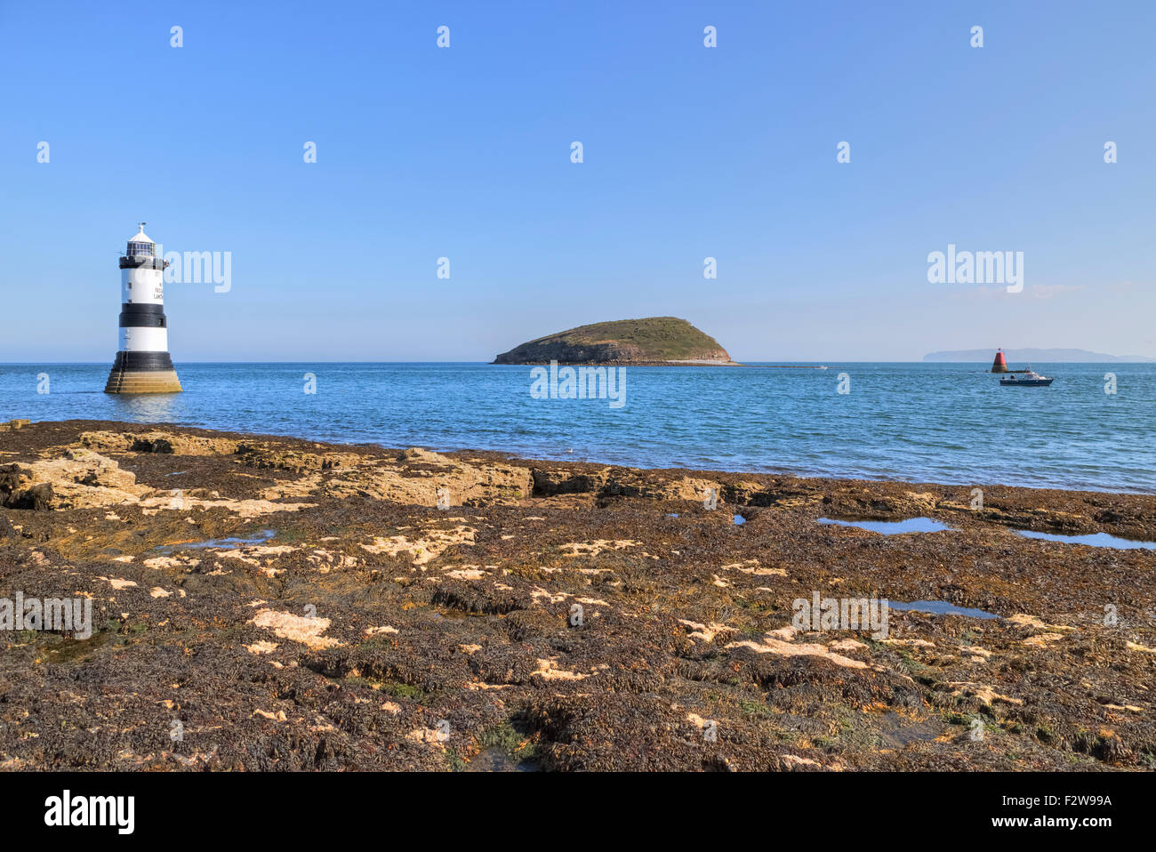 Trwyn Du Lighthouse, Puffin Island, Wales, United Kingdom Stock Photo