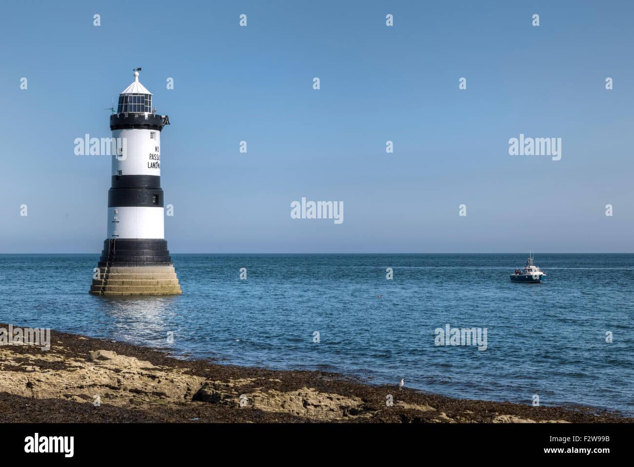 Trwyn Du Lighthouse, Puffin Island, Wales, United Kingdom Stock Photo
