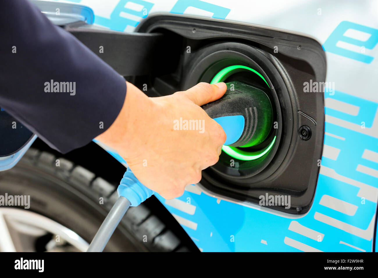 Electric power cable on the electric car BMW 225xe on the 66th International Motor Show 2015, Frankfurt/Main, Germany - Stock Image