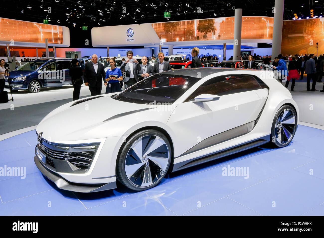 Frankfurt/M, 15.09.2015 - New VW Volkswagen GOLF GTE SPORT concept  car at the 66th International Motor Show IAA - Stock Image