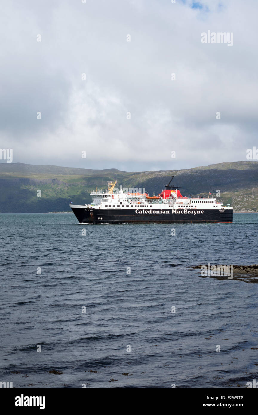 Passenger ferry approaching Craignure on the Isle of Mull, Argyle and Bute, Scotland - Stock Image