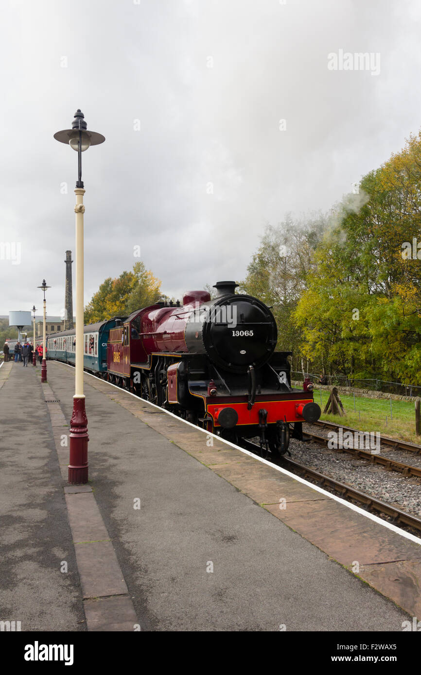 Preserved steam engine LMS class 5 'crab' 13065 at Rawtenstall station on the East Lancashire Railway. Stock Photo